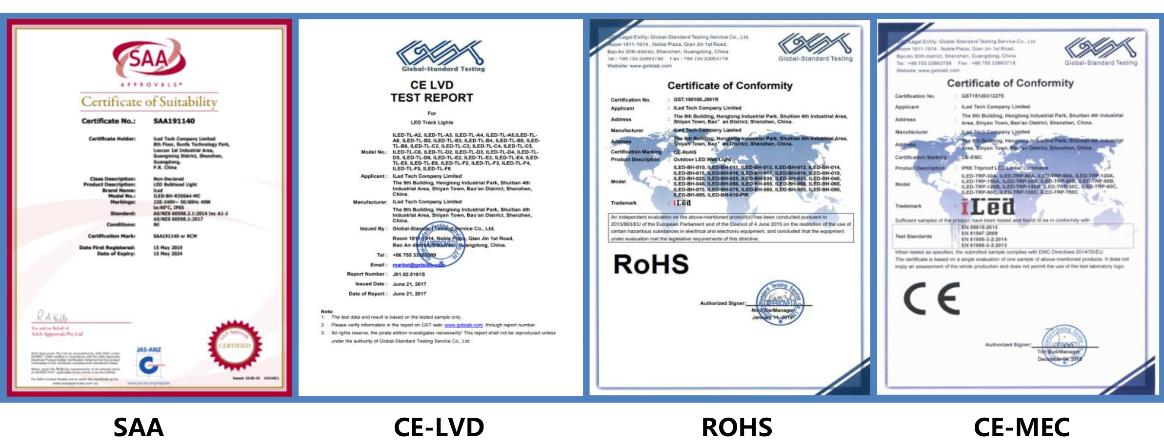 iLed Certifications of All LED Lighting